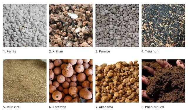 Một số các nguyên liệu phổ biến khác dùng phối trộn đất trồng lan