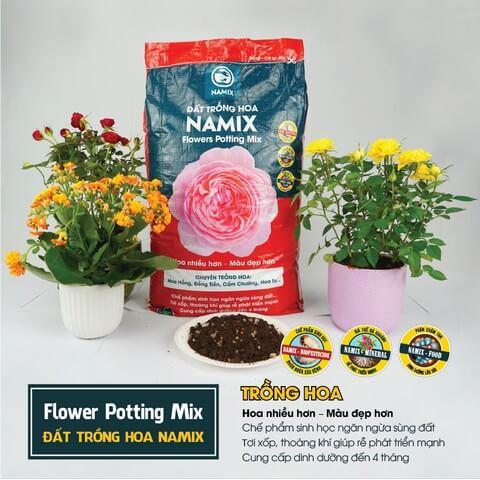 Đất trộn sẵn Namix chuyên dùng cho hoa hồng trồng chậu