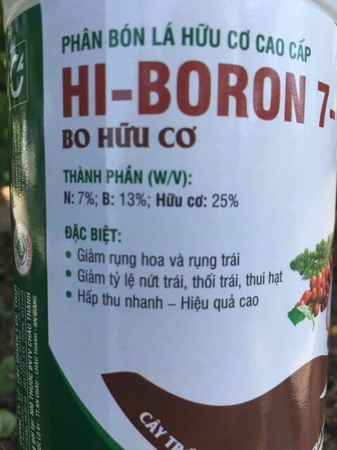 Phân bón lá Hi Boron chứa hàm lượng dinh dưỡng cao, đa dạng